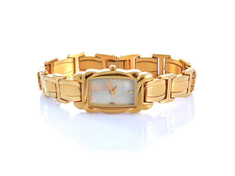 Gold woman watch isolated. On white background with reflection royalty free stock photo
