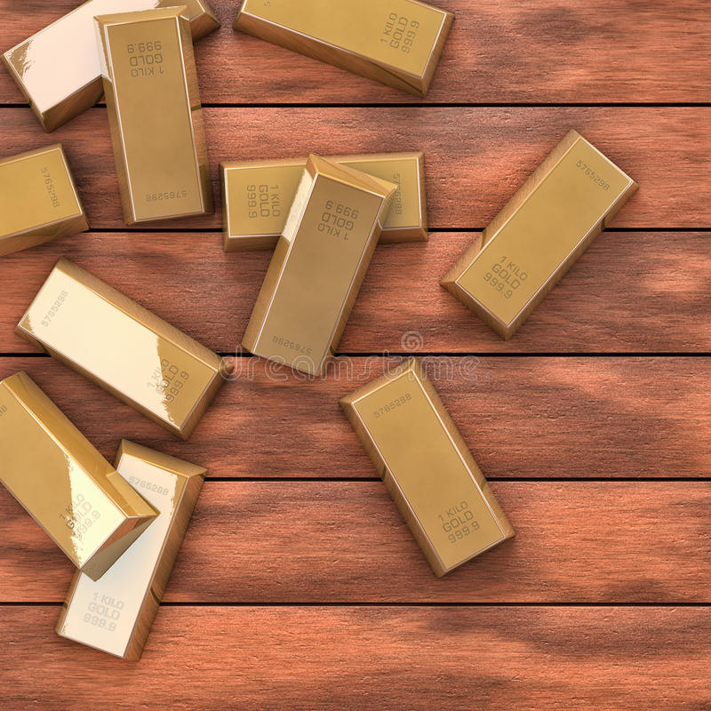 Download Gold On Wood Table Royalty Free Stock Image - Image: 33137296