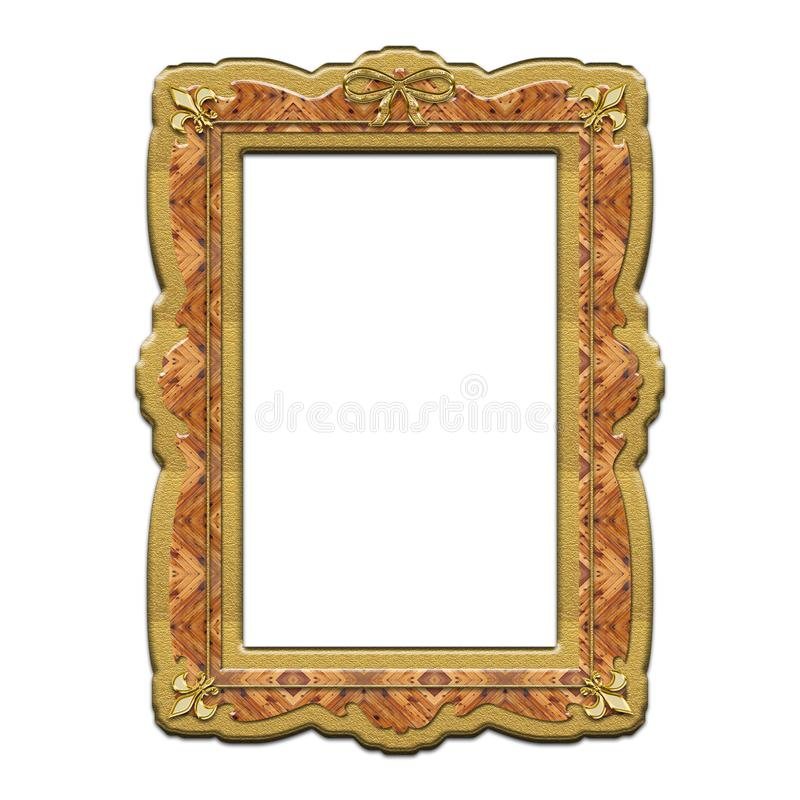 Gold wooden frame with lilies vector illustration