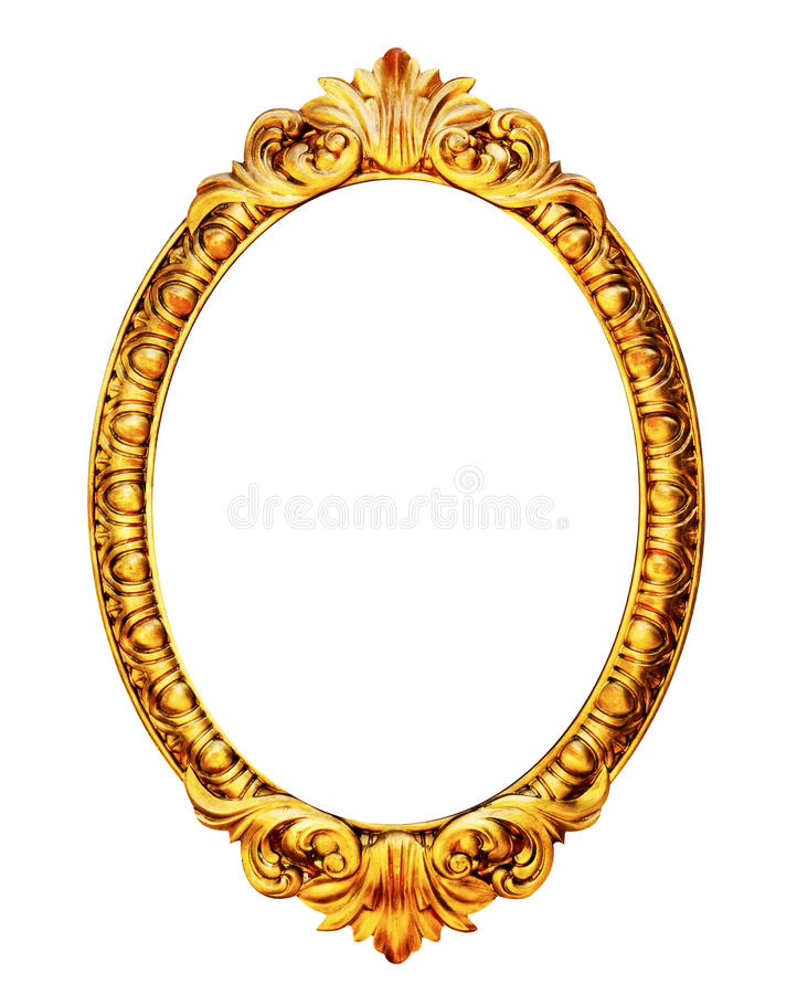 Gold wooden mirror frame isolated on white. Background royalty free stock images