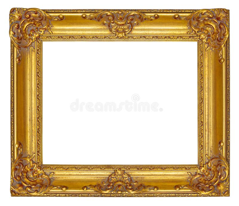 Gold wooden picture frame with carved floral ornament, isolated. Gold wooden picture frame with carved floral ornament isolated on a white background royalty free stock images
