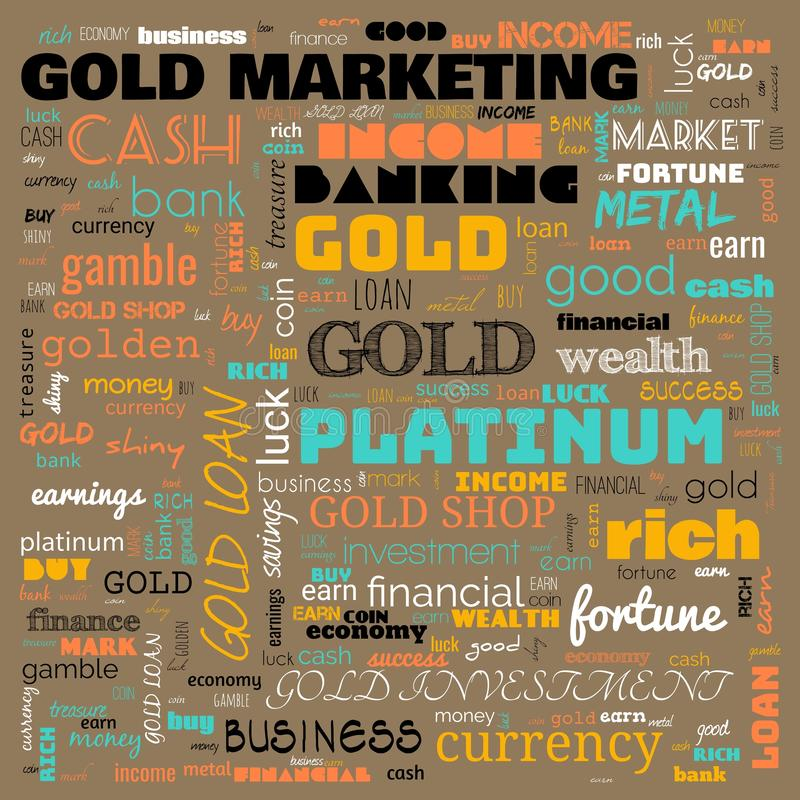Gold word cloud, text, word cloud use for banner, painting, motivation, web-page, website background, t-shirt & shirt printing,. Poster, gritting, wallpaper &# royalty free illustration