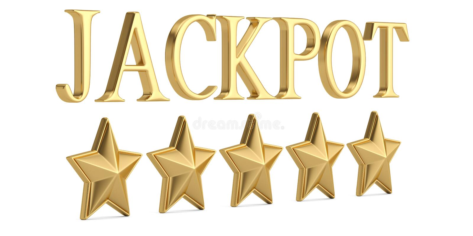 The gold word jackpot with gold stars isolated on white background 3D illustration. royalty free illustration