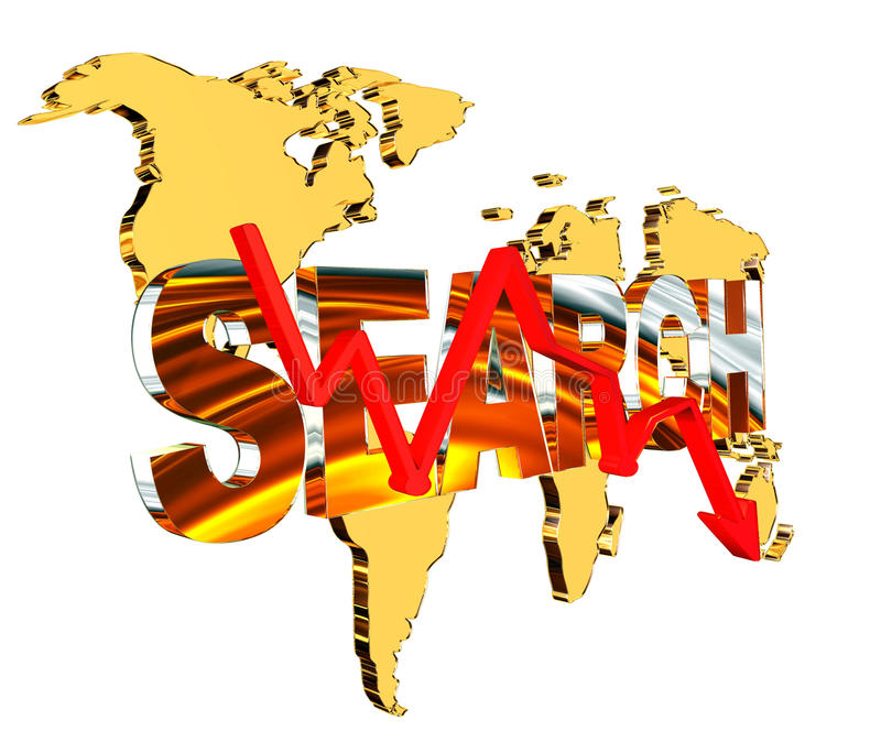 Gold world map with text search and a red arrow down on a white background stock illustration