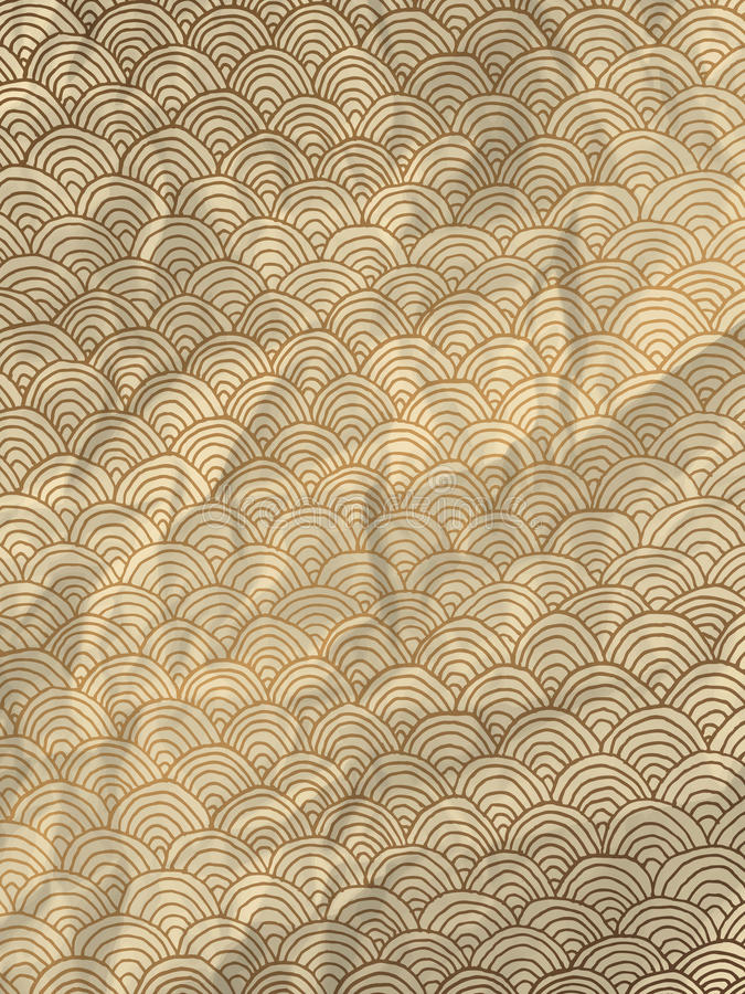 Gold wrapping paper with geometric hand drawn waves stock illustration