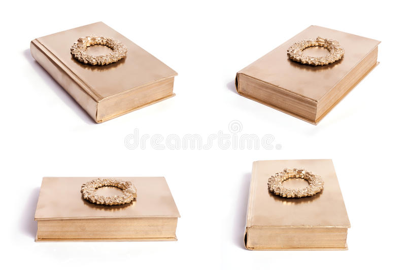 Gold Wreath Book royalty free stock photo