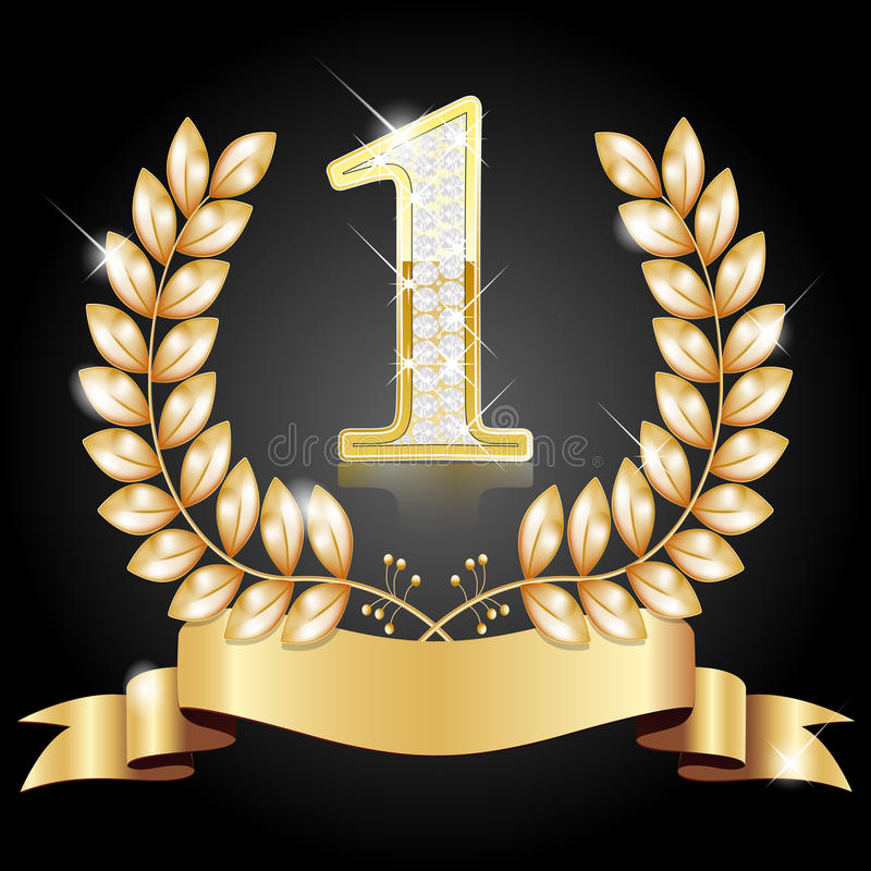 Gold wreath for the winner and number one stock image