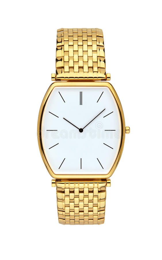 Gold wrist watch isolated on white with clipping path. Gold wrist watch isolated on white background with clipping path stock photo