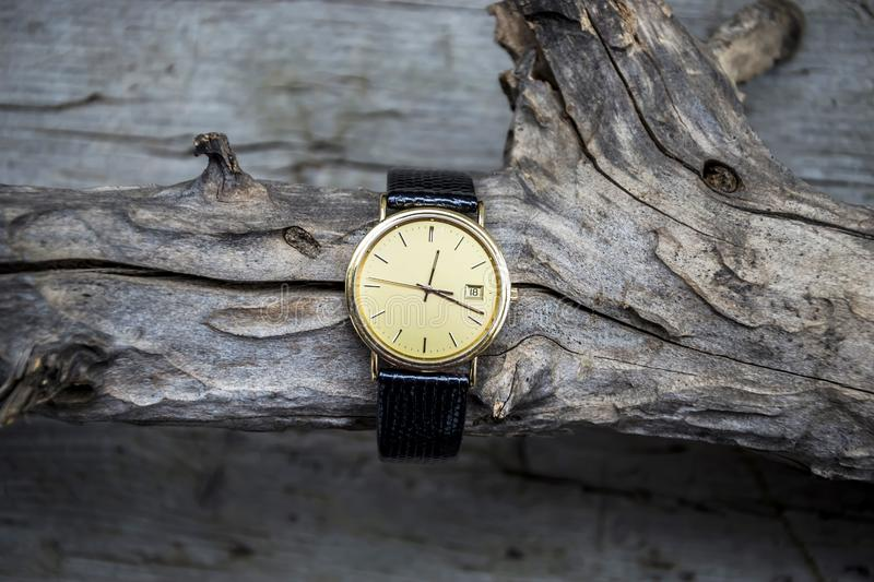 Gold wrist watch with leather strap on wooden background. Clock, time, watch, old, antique, isolated, hour, white, vintage, minute, retro, pocket, alarm, gold stock photo