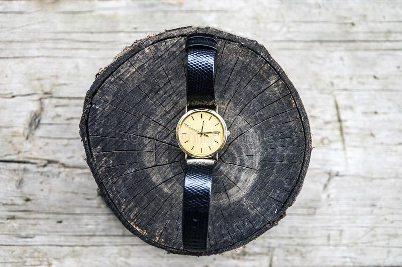 Gold wrist watch with leather strap on wooden background. Clock, time, watch, old, antique, isolated, hour, white, vintage, minute, retro, pocket, alarm, gold royalty free stock photos