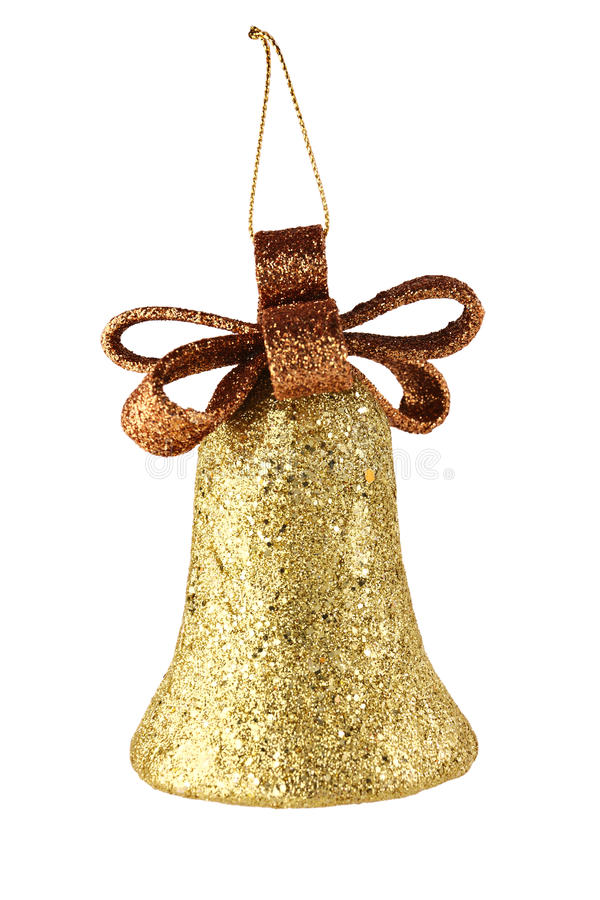 Download Gold xmas bell isolated stock photo. Image of studio - 28045876