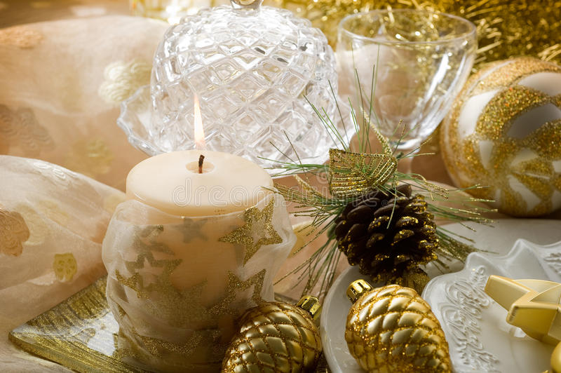 Download Gold xmas decorations stock image. Image of decorative - 17083853