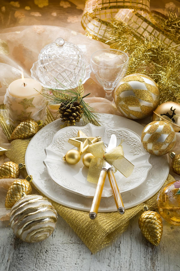 Download Gold xmas table stock photo. Image of celebrate, dish - 16798452