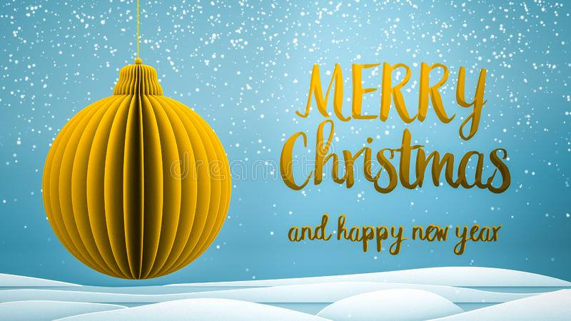 Gold xmas tree ball decoration Merry Christmas and Happy New Year greeting message in english on blue background,snow stock photos
