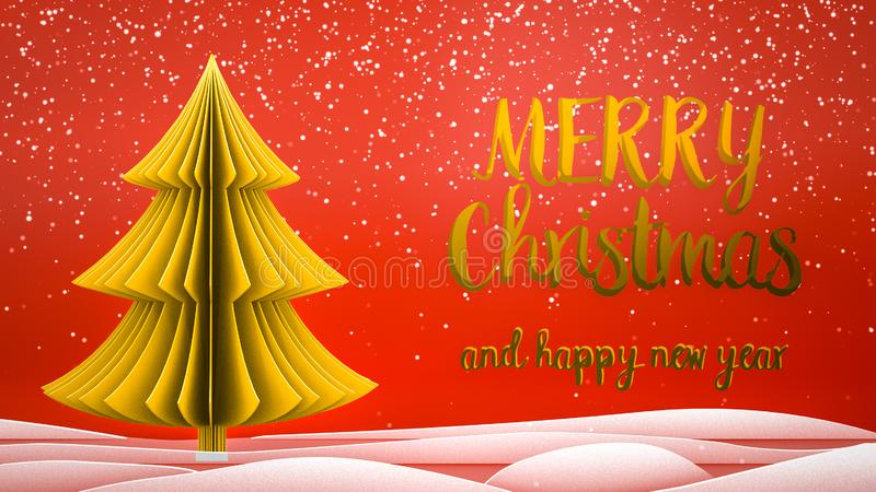 Gold xmas tree Merry Christmas and Happy New Year greeting message in english on red background,snow flakes.Elegant royalty free stock photography