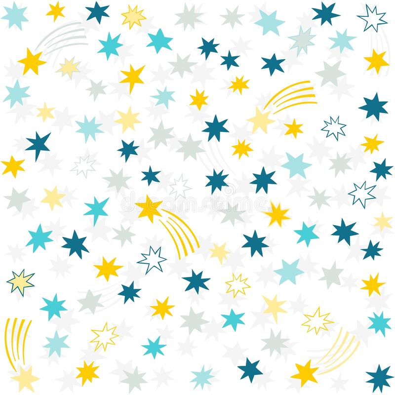 Gold Yellow Blue Gray Navy Messy Little Stars Stock Vector