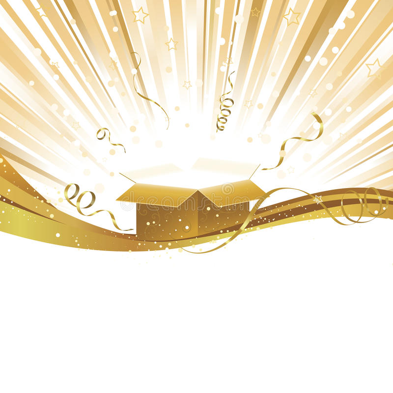 Download Gold Yellow Celebration Light Burst With Gift Stock Vector - Image: 16551577