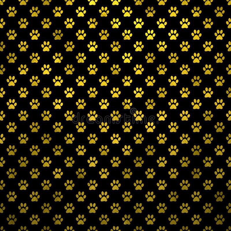Gold Yellow Dog Paw Metallic Foil Polka Dot Black