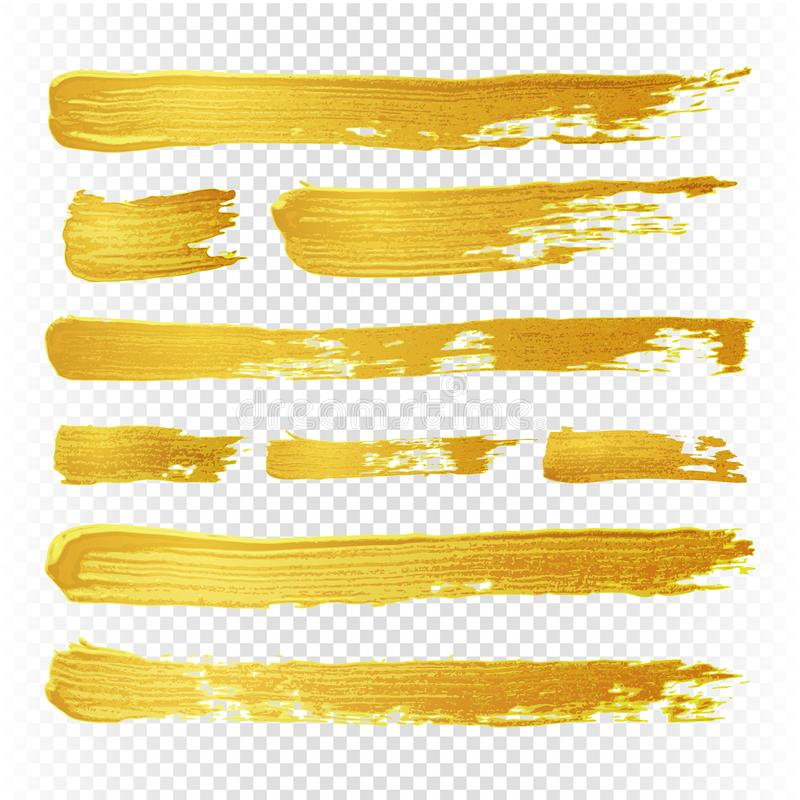 Gold yellow paint vector textured abstract brushes. Golden hand drawn brush strokes royalty free illustration
