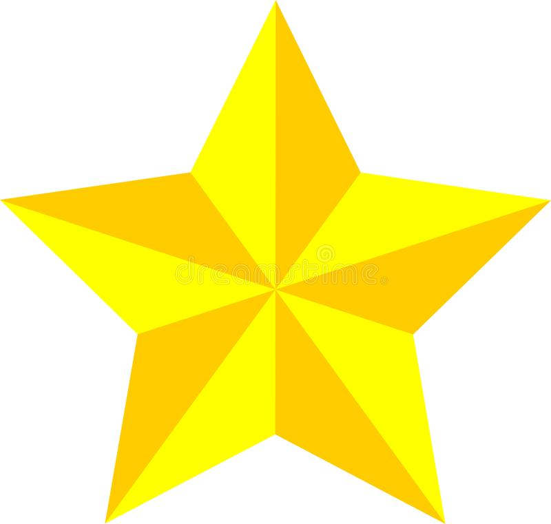 Gold/yellow star, game rating star, achievement stock image