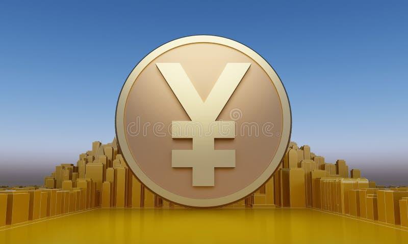 Gold yen coin vector illustration