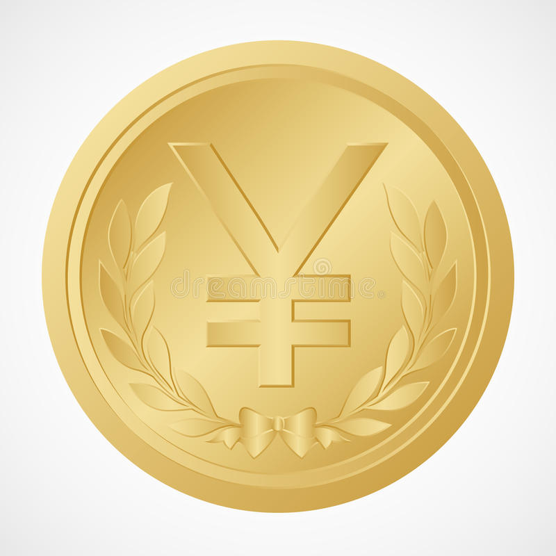 Gold Yen Coin with Yuan Symbol – Chinese Money – Vector and Illustration stock illustration