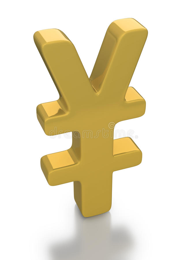 Gold Yen currency symbol stock photos
