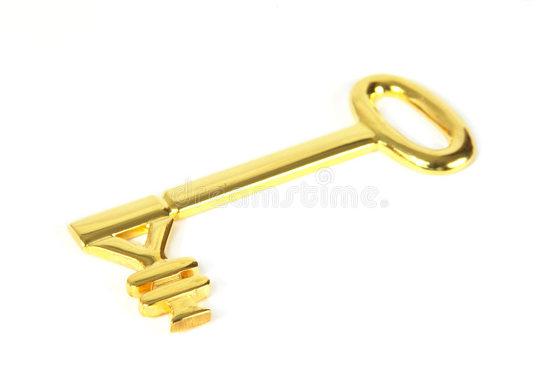Gold yen key. Genuine 22k gold key with Japanese yen symbol (in sharp focus). Symbolising success. The first in a series of Yen golden key images. See similar royalty free stock photo