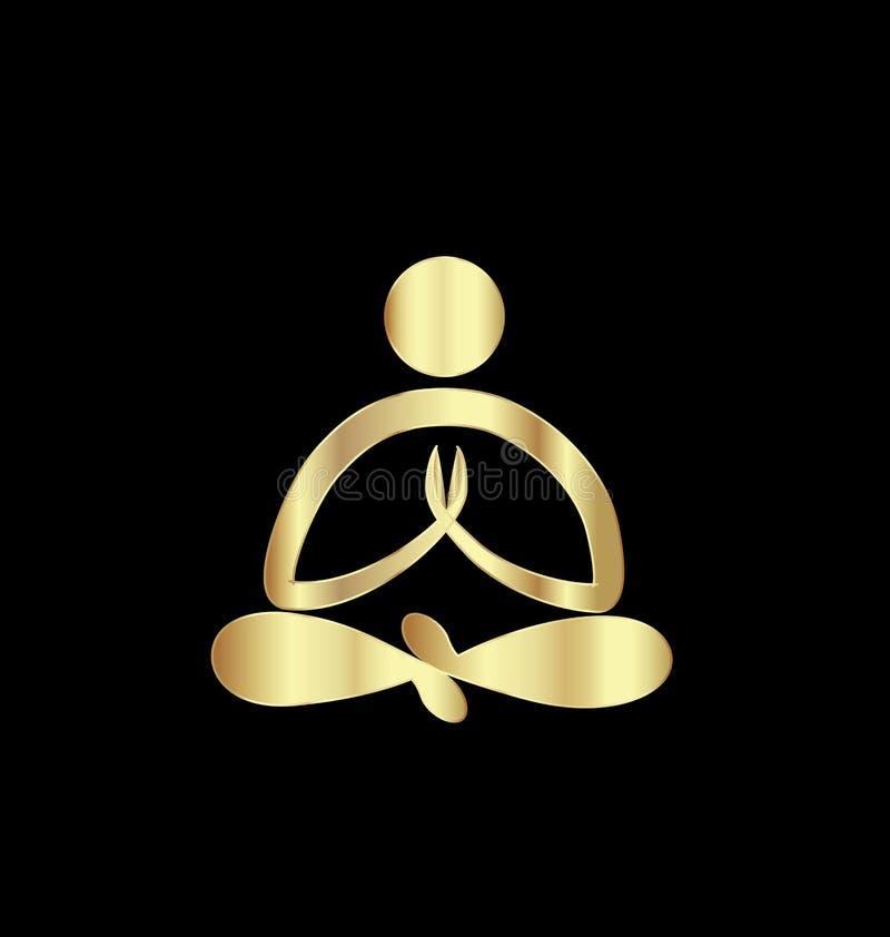 Gold yoga figure meditate symbol vector vector illustration