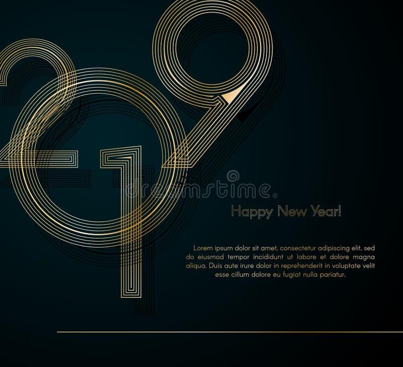 Gold zeichnet 2019 neues Jahr auf einem kreativen Element des dunklen Hintergrundes für Entwurfsluxuskarten-Einladungspartei für  stock abbildung