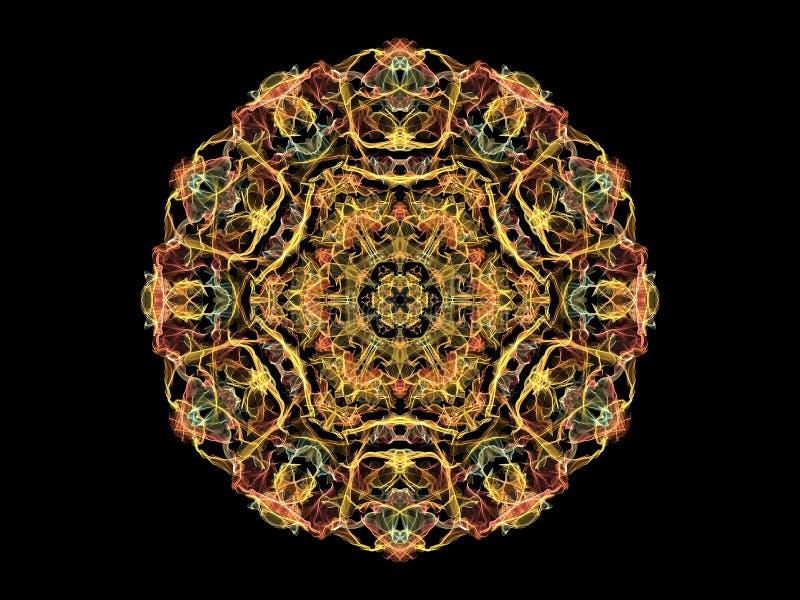 Goldabstrakte Flammen-Mandalaschneeflocke, dekoratives rundes Muster auf schwarzem Hintergrund Yogathema lizenzfreie abbildung