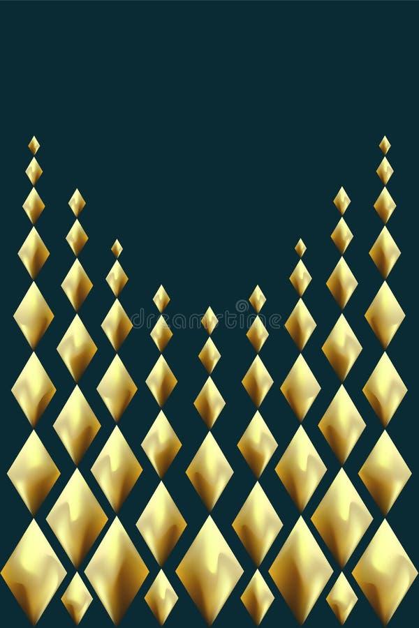 Goldabstrakter Hintergrund Goldene Foliengruß-Feiertagskarte Glühendes geometrisches Muster der Metallraute Tiefgrüne blaue Farbe lizenzfreie abbildung