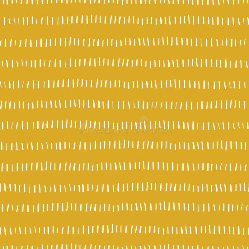 Goldabstrakter nahtloser Vektorhintergrund Weiße Handgezogene vertikale Linien in den horizontalen Reihen auf goldenem Hintergrun stock abbildung