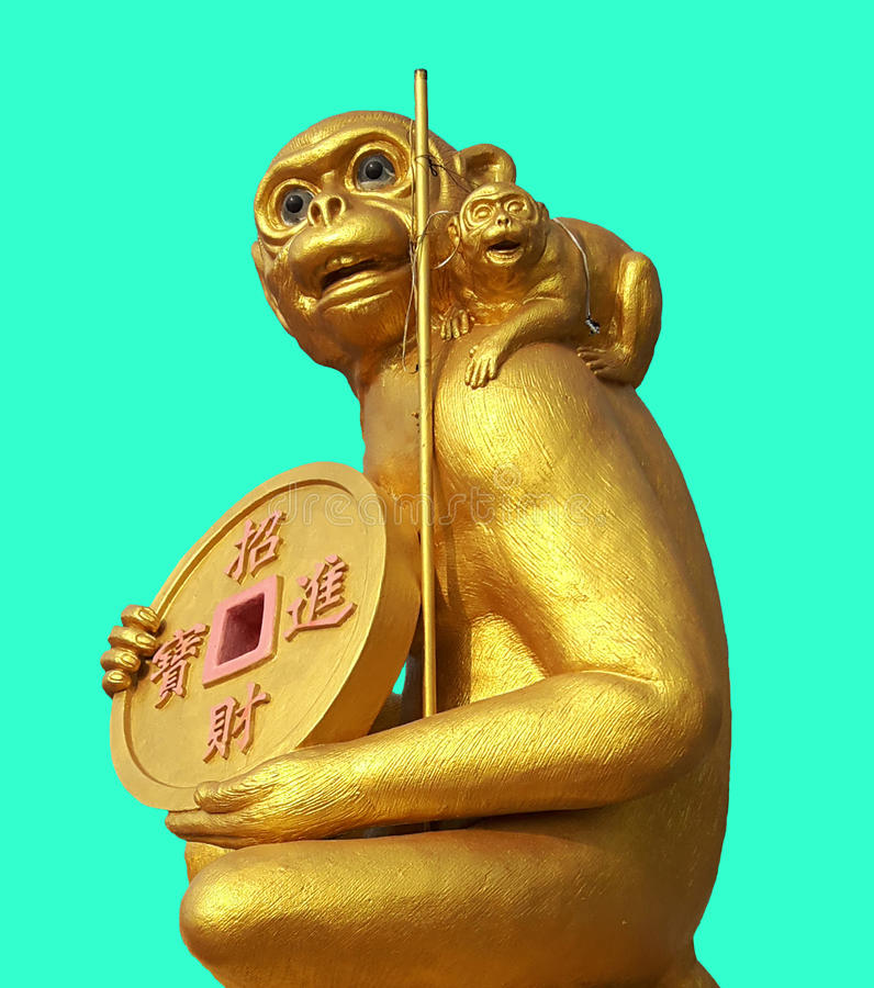 Goldaffe, der Goldmedaille hält stockfotografie