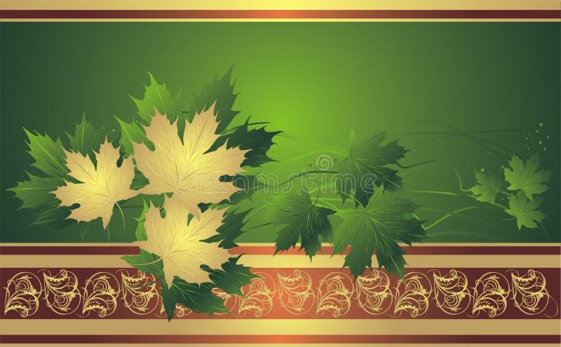 GoldAhornblätter auf dem dekorativen Hintergrund lizenzfreie abbildung