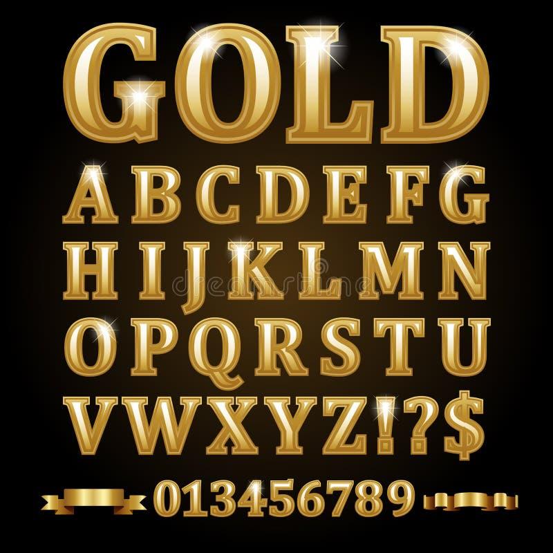 Goldalphabetische Buchstaben lokalisiert auf Schwarzem vektor abbildung
