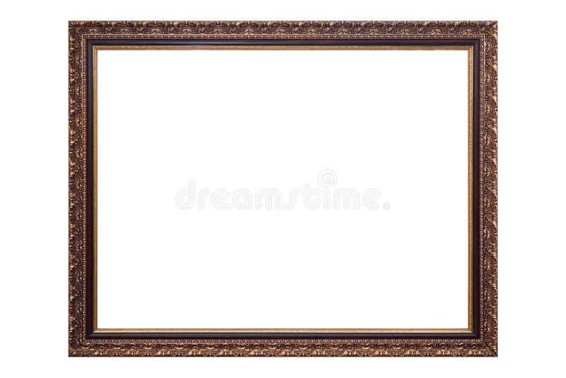 Goldantiker Bilderrahmen lokalisiert auf weißem Hintergrund, Beschneidungspfad stockfotografie
