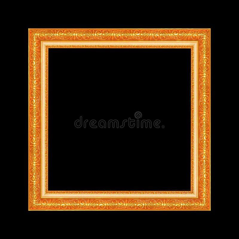 Goldantiker Rahmen lokalisiert auf schwarzem Hintergrund lizenzfreie stockfotografie