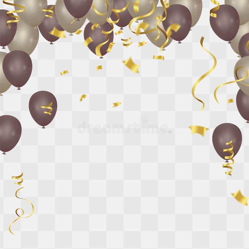 Goldballon auf Hintergrund Bereifte Parteiballone für Ereignis-DES stock abbildung