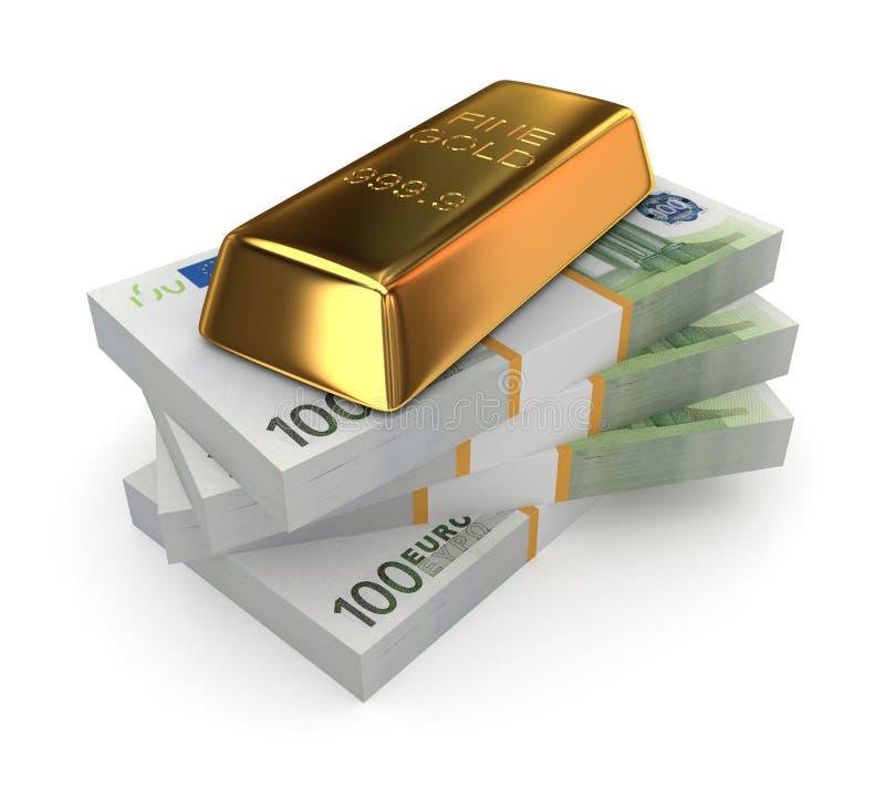 Goldbar na stercie dolary. obrazy royalty free