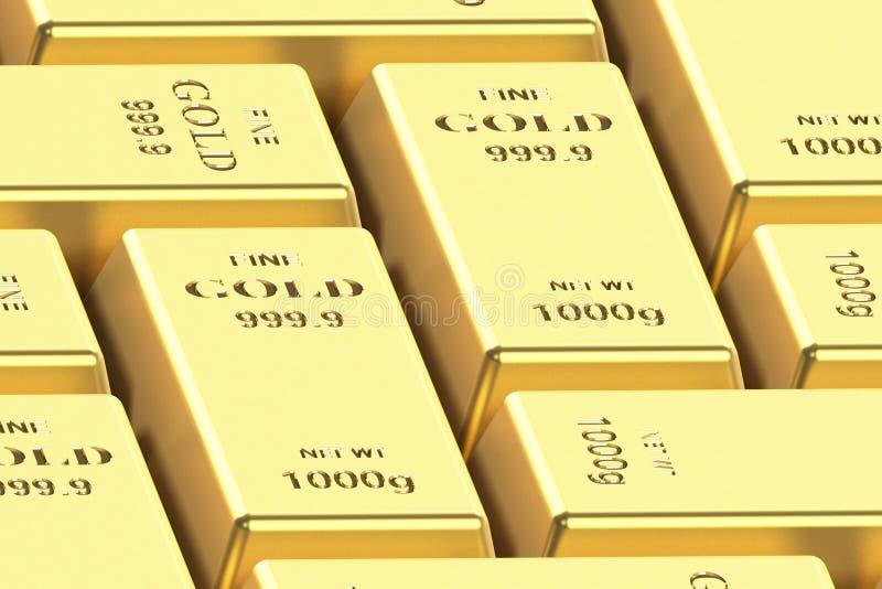 Goldbarren auf einem wei?en Hintergrund 3D Wiedergabe, Illustration 3D stockfoto