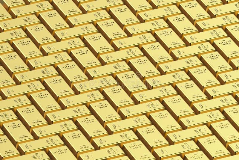 Goldbarren auf einem wei?en Hintergrund 3D Wiedergabe, Illustration 3D stockfotos