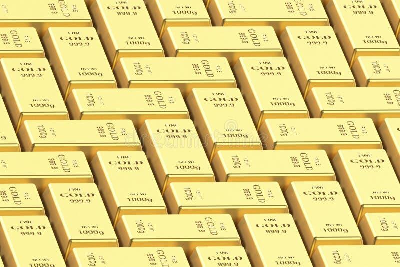 Goldbarren auf einem wei?en Hintergrund 3D Wiedergabe, Illustration 3D lizenzfreie stockbilder