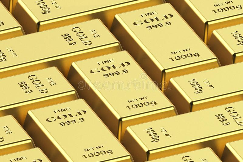 Goldbarren auf einem wei?en Hintergrund 3D Wiedergabe, Illustration 3D lizenzfreie stockfotografie