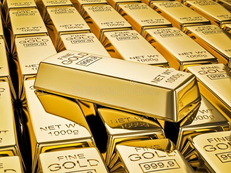 Goldbarren auf Stapeln Goldbarren schließen oben lizenzfreie abbildung
