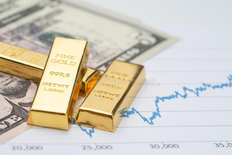 Goldbarren-Barrenstapel auf US-Dollar Amerikas Banknotengeld und lizenzfreie stockbilder