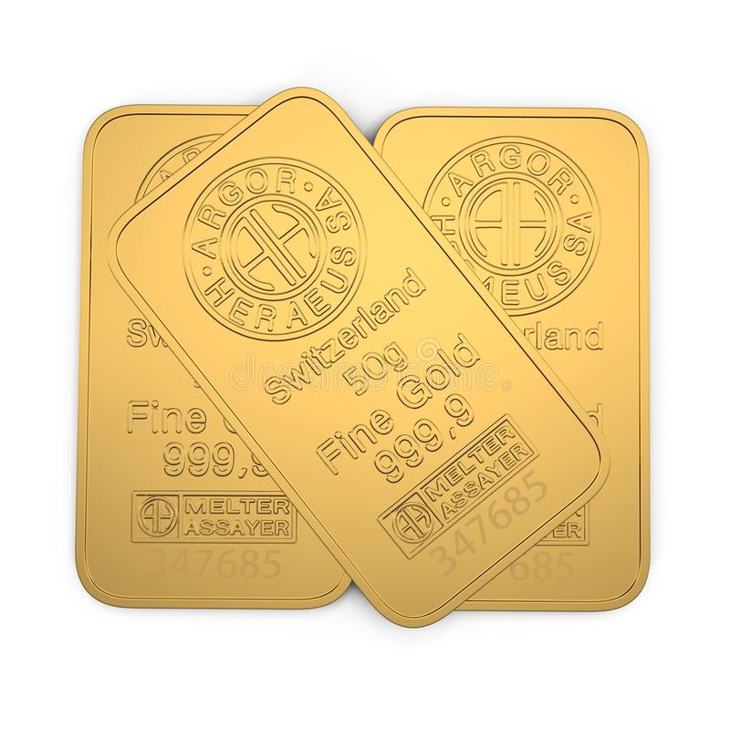Goldbarren 50g lokalisiert auf Weiß Abbildung 3D vektor abbildung