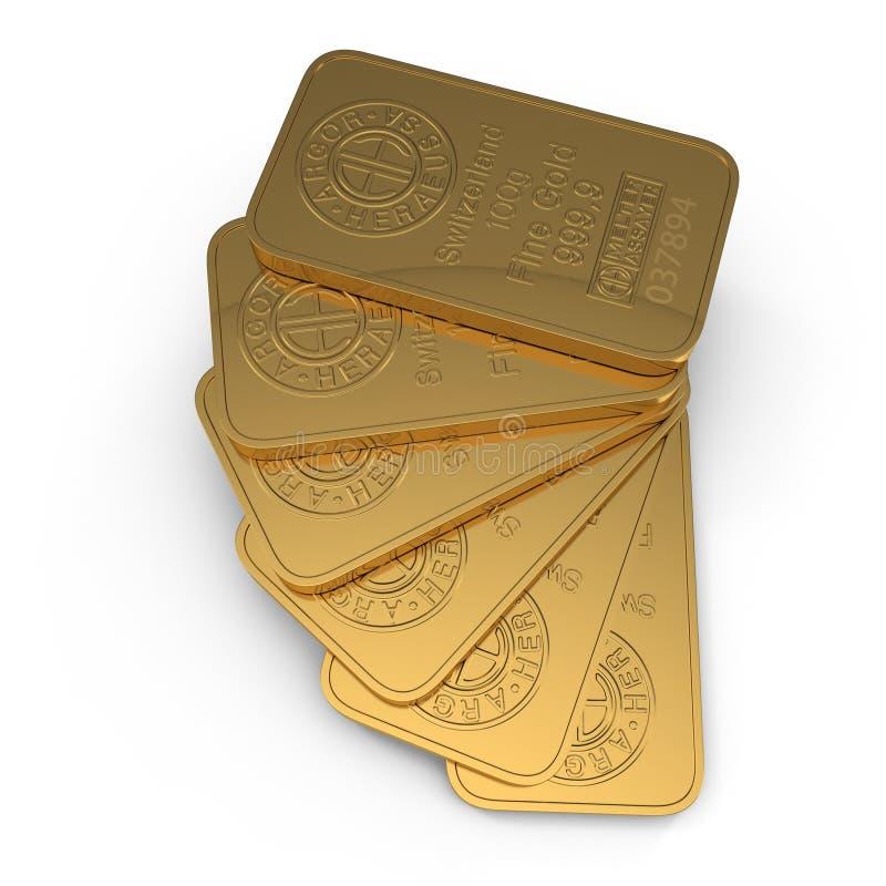 Goldbarren 100g lokalisiert auf Weiß Abbildung 3D vektor abbildung