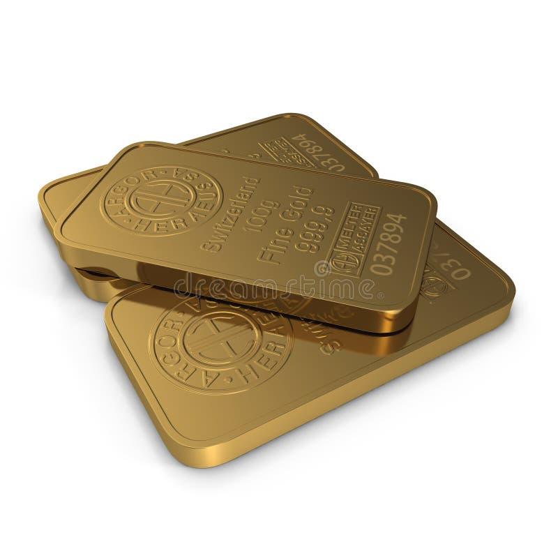 Goldbarren 100g lokalisiert auf Weiß Abbildung 3D lizenzfreie abbildung