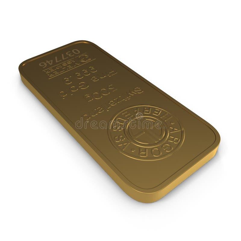 Goldbarren 500g lokalisiert auf Weiß Abbildung 3D vektor abbildung